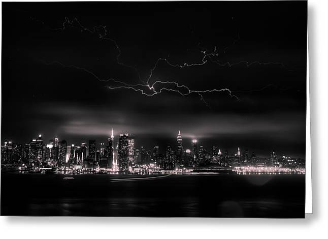 Storming Into The Night Greeting Card by David Hahn
