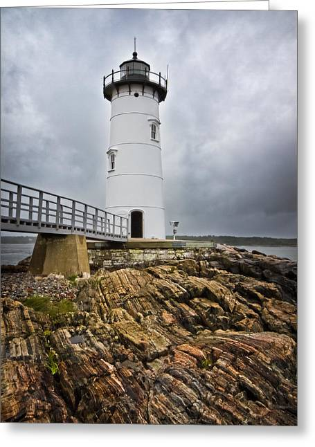 Stormy Lighthouse Greeting Card by Robert Clifford