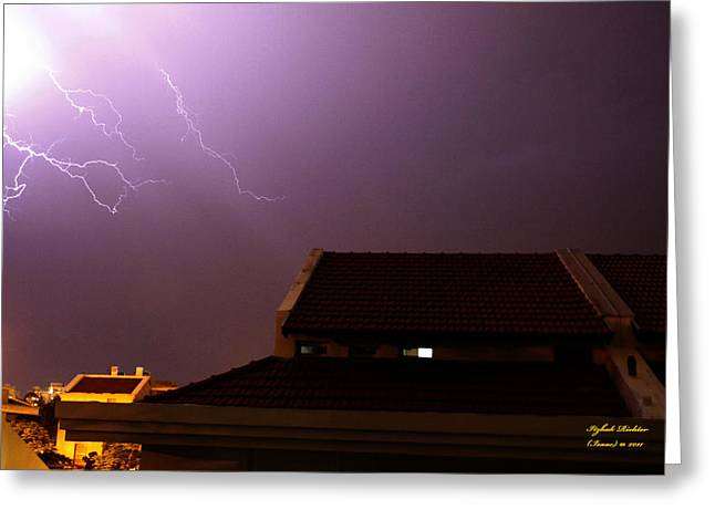 Stormy Night Greeting Card by Itzhak Richter