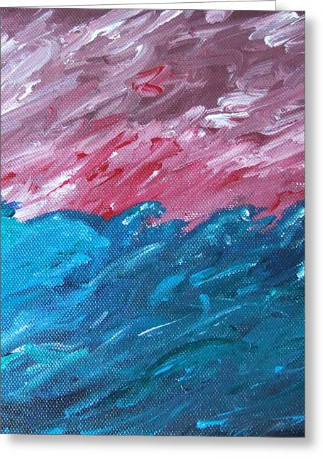 Greeting Card featuring the painting Stormy Sea by Martin Blakeley