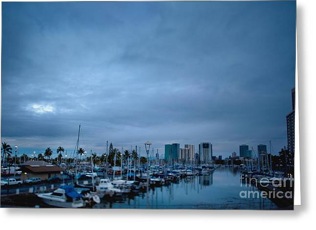 Stormy Skies Over Boat Harbor At Night, Honolulu, Hawaii Greeting Card by Inti St. Clair