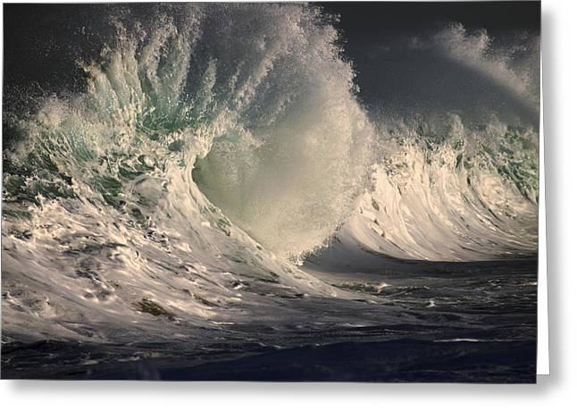 Stormy Wave Crash Greeting Card by Vince Cavataio