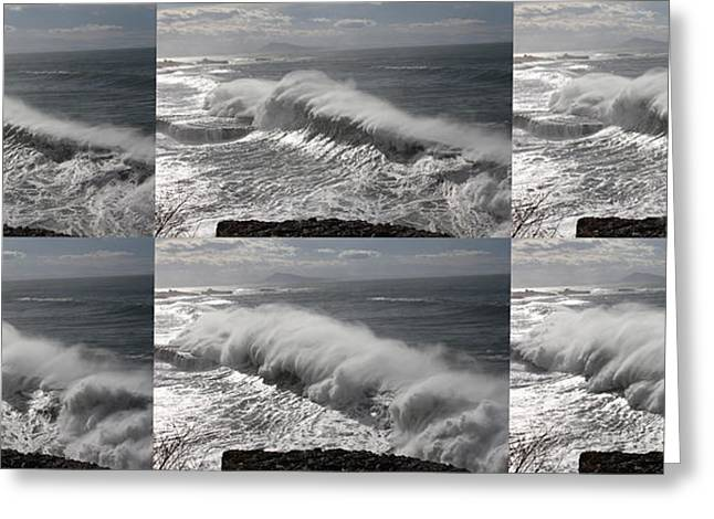Stormy Wave Sequence Greeting Card by Cedric Darrigrand