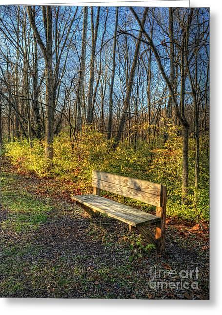 Storybook Bench Greeting Card by Pamela Baker