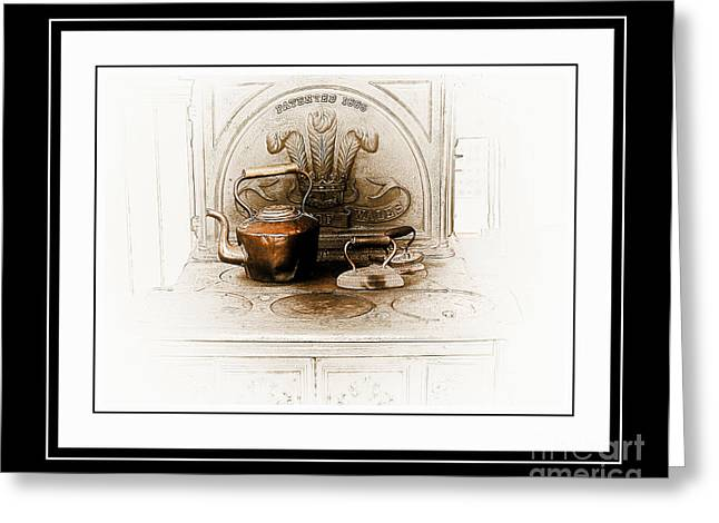 Stove Patent 1885 Greeting Card by Elaine Manley