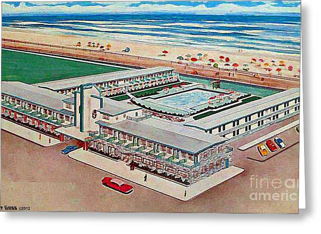 Strand Motel And Restaurant In Atlantic City N J 1950's Greeting Card by Dwight Goss