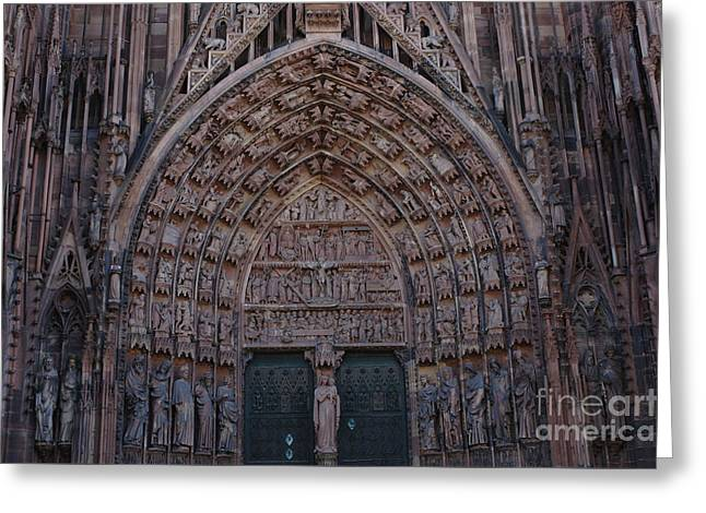 Strasbourg Cathedral Entranceway Greeting Card