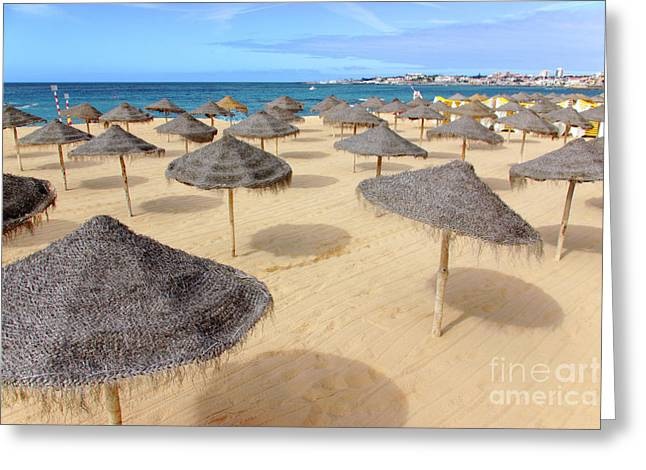 Straw Sunshades Greeting Card by Carlos Caetano