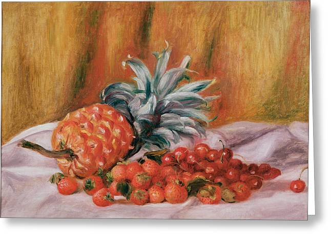 Strawberries And Pineapple Greeting Card by Pierre Auguste Renoir