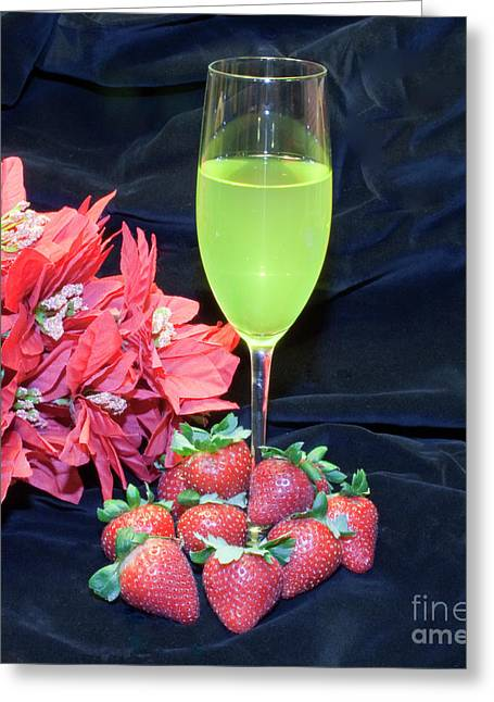 Strawberries And Wine Greeting Card by Michael Waters