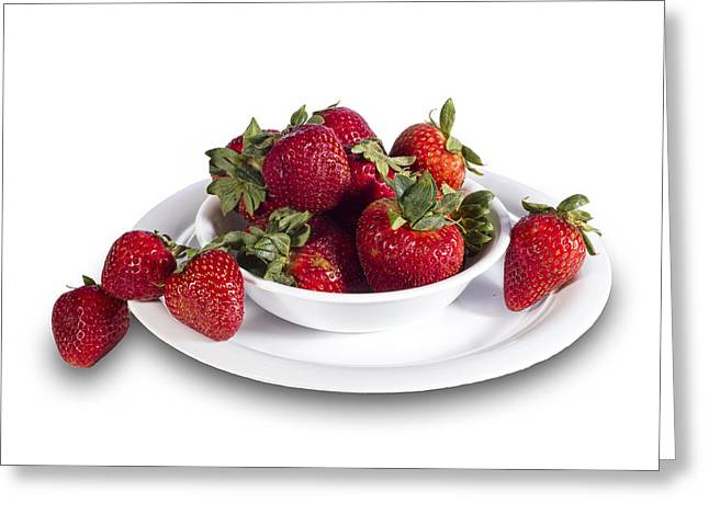 Strawberries In A White Bowl No.0029v1 Greeting Card by Randall Nyhof