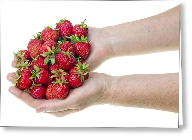 Strawberries In Hands Greeting Card
