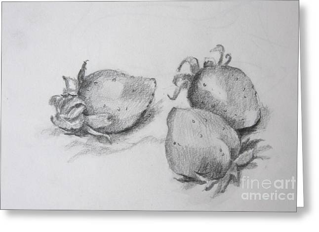 Strawberries Greeting Card by Jan Bennicoff