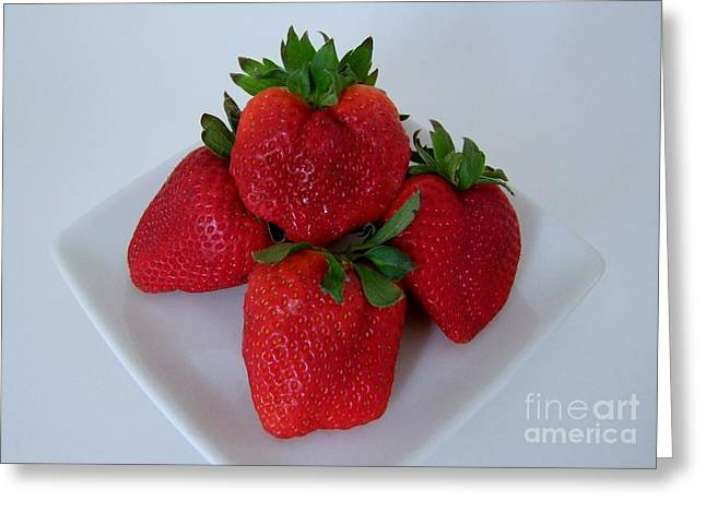Strawberries On A White Plate Greeting Card by Mary Deal