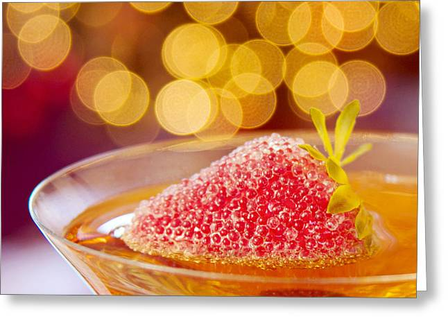 Strawberry And Champagne Greeting Card by Kim Fearheiley