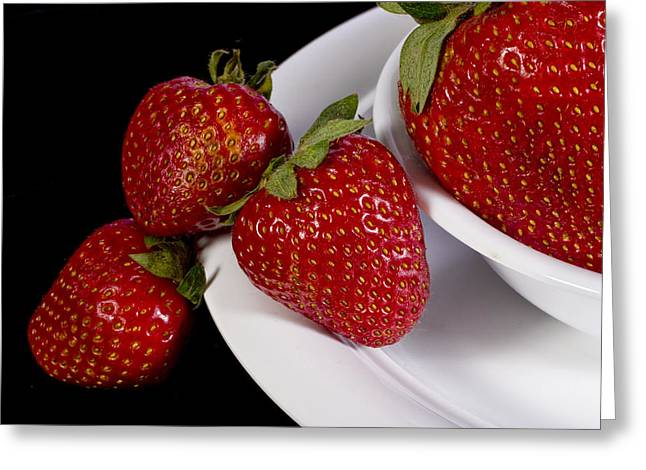 Strawberry Arrangement With A White Bowl No.0036 Greeting Card by Randall Nyhof