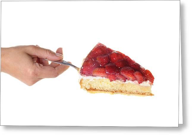 Strawberry Cake Served Greeting Card by Matthias Hauser