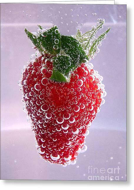 Strawberry In Soda Greeting Card