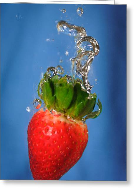 Strawberry Plunge Greeting Card by John White