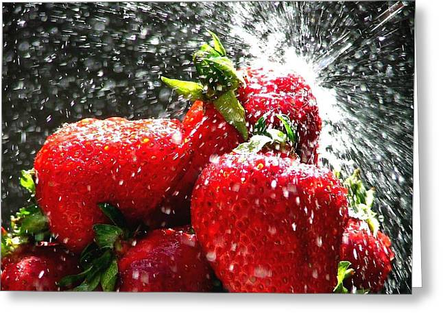 Strawberry Splatter Greeting Card by Colin J Williams Photography