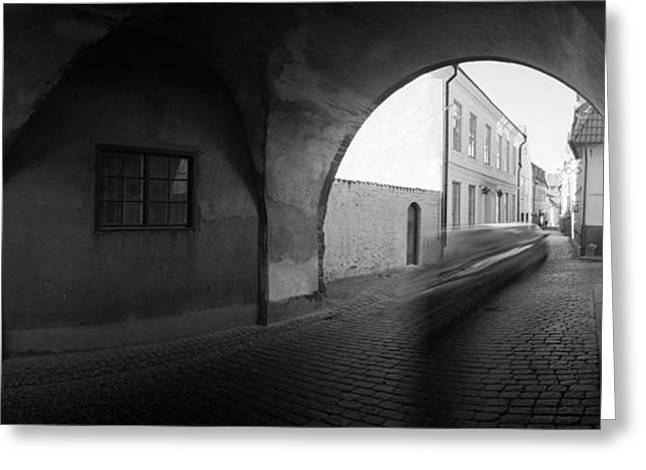 Streaking Car Visby Greeting Card by Jan W Faul