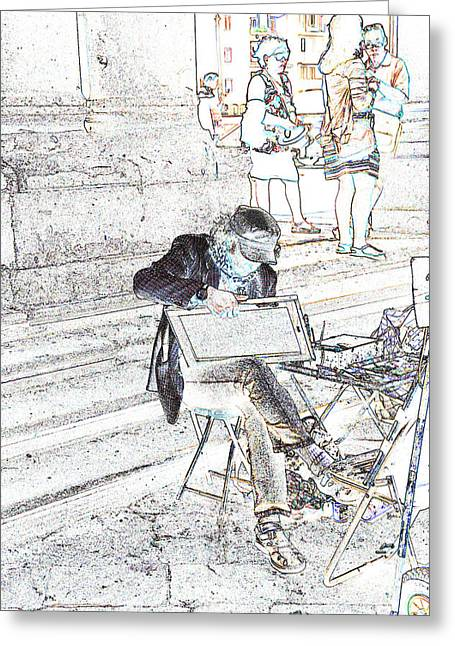 Street Artist Florence Italy Greeting Card by Allan Rothman