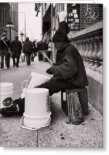 Street Drummer Greeting Card by Peter Chilelli