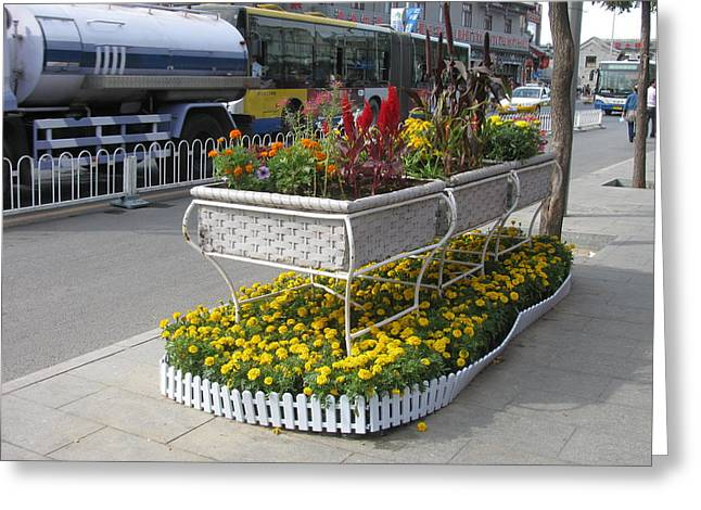 Street Flower Planter Greeting Card by Alfred Ng