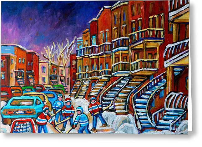 Street Hockey Game In Winter Greeting Card by Carole Spandau