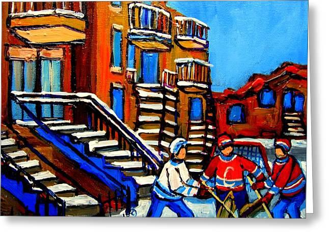 Street Hockey Near Staircases Montreal Winter Scene Greeting Card by Carole Spandau