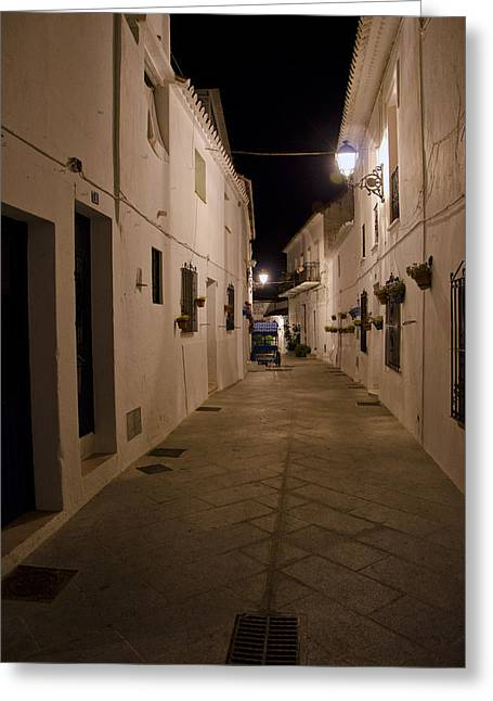 Street In A White Village Greeting Card by Perry Van Munster