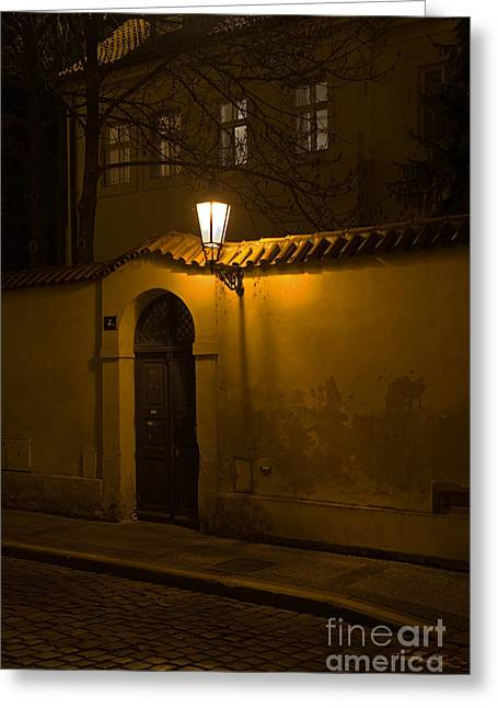 Street In Prague By Night Greeting Card