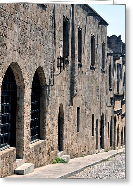 Street In The Medieval Fortress Of Rhodes. Greeting Card by Fernando Barozza