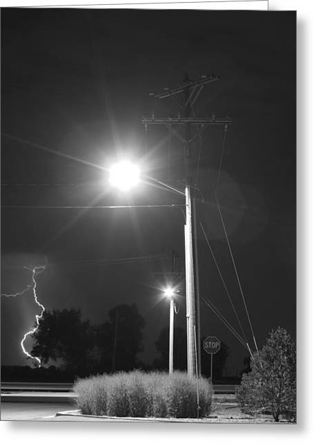 Street Light  Lightning In Black And White Greeting Card by James BO  Insogna