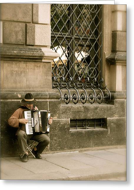 Street Musician Greeting Card by Brittany Spitler