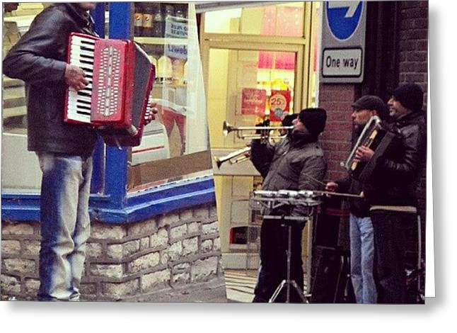 #street #musicians In #oswestry #wales Greeting Card
