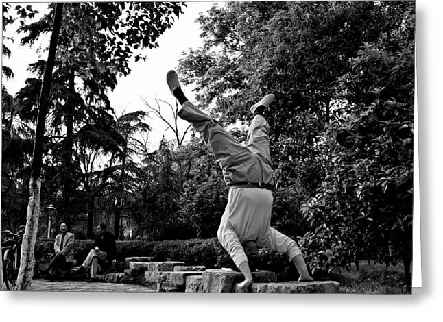 Street Scene 1 - Chinese Upside Down In The Park Guy Greeting Card by Dean Harte