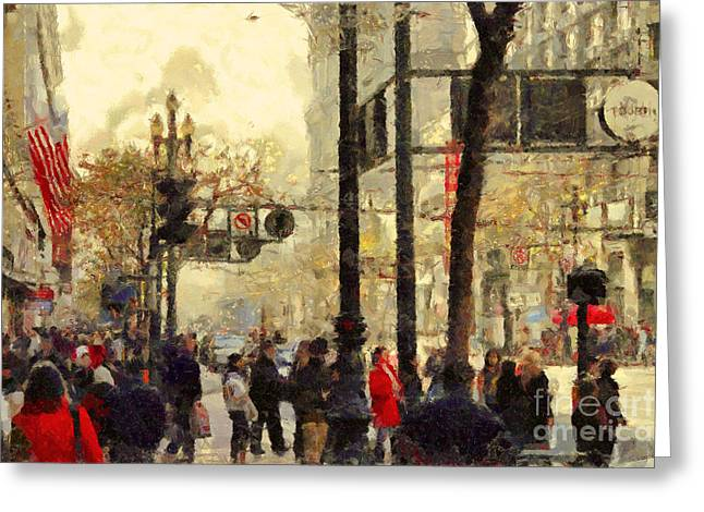 Street Scene At Market Street In San Francisco California . 7d4268 Greeting Card by Wingsdomain Art and Photography