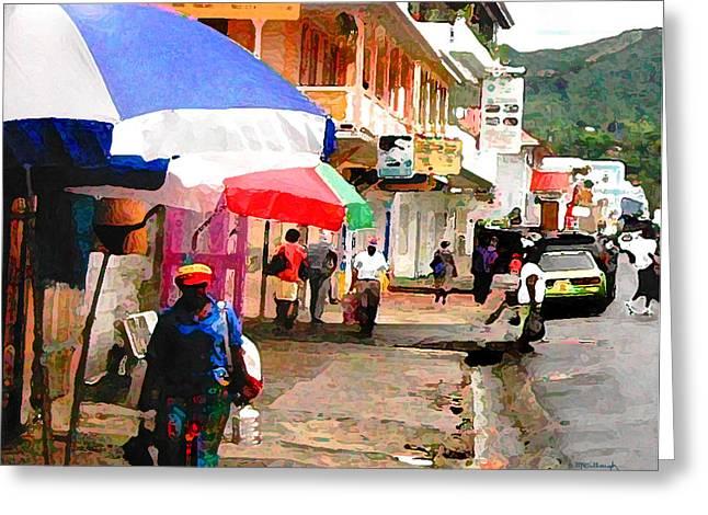 Street Scene In Rosea Dominica Filtered Greeting Card