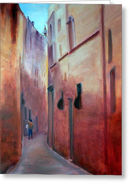 Greeting Card featuring the painting Street Scene  Malta by Rosemarie Hakim