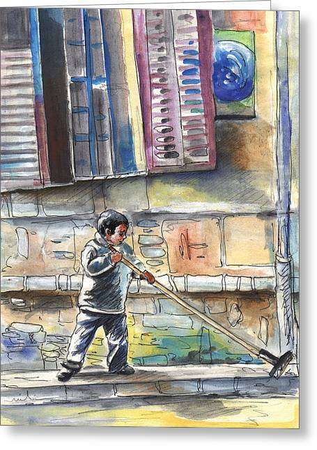 Street Sweeper In Cyprus Greeting Card