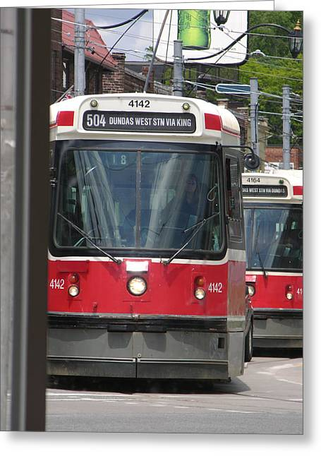 Greeting Card featuring the photograph Streetcars 21379 by Brian Gryphon