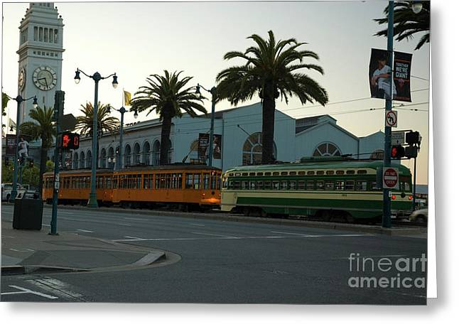 Streetcars At Sunset Greeting Card by Tim Mulina