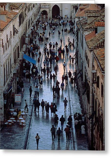 Streets Of Dubrovnik Greeting Card by Carl Purcell