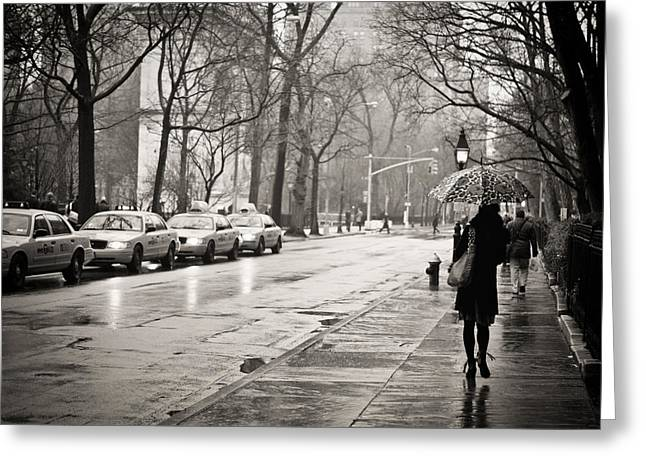Streets Slick With Promise - Greenwich Village Greeting Card by Vivienne Gucwa