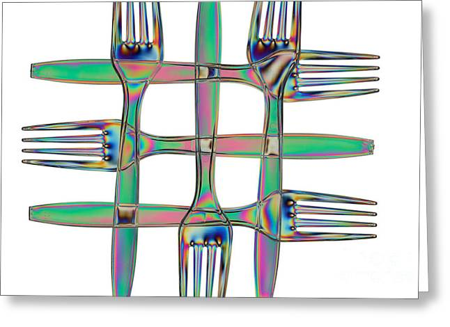 Stress In Plastic Forks Greeting Card by Ted Kinsman