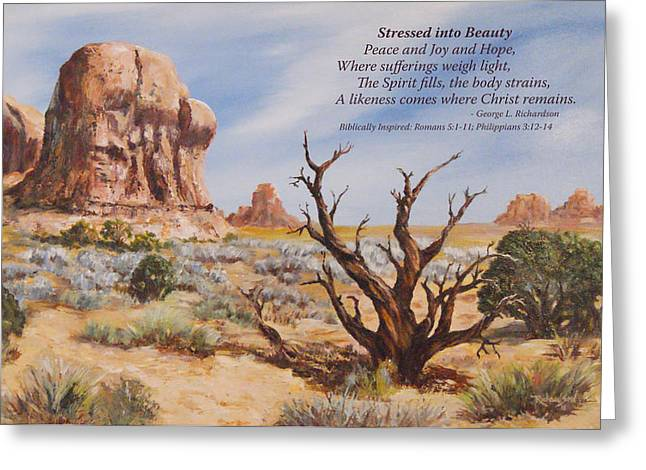 Stressed Into Beauty With Poem Greeting Card by George Richardson
