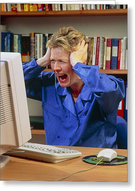 Stressed Woman Shouting At An Office Computer Greeting Card by Damien Lovegrove