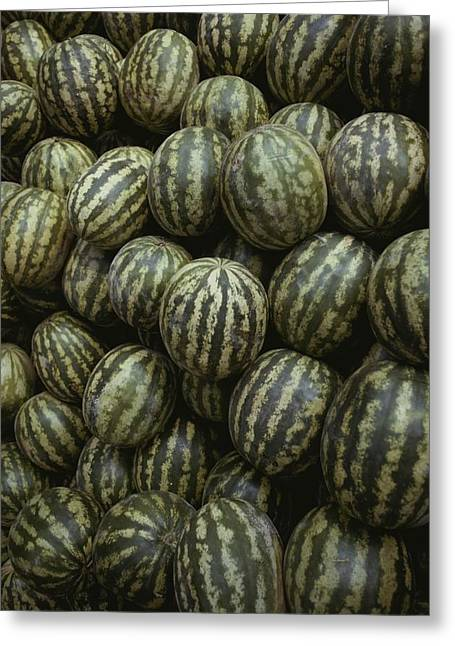 Striped Watermelons Greeting Card by Stephen St. John