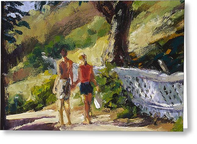 Stroll The Cove Greeting Card by Mark Lunde